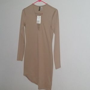 H&M nude/tan fitted assymetrical dress